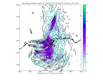 COAMPS-TC predicts heavy rain around where Barry makes landfall, with a sizeable region predicted to receive over 15 inches of rain and potentially over 30 inches in certain locations therein. (U.S. Naval Research Laboratory)
