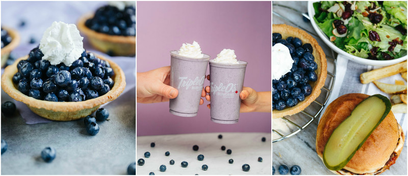 Pictured (L-R): White Spot's Fresh BC Blueberry Pie, Triple O's hand-crafted blueberry milkshakes, and White Spot's Blueberry Bundle. All images courtesy of White Spot and Triple O's Restaurants. (CNW Group/White Spot Restaurants)