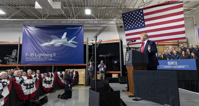 President Donald J. Trump visited Derco, which maintains one of the largest and most diversified aircraft spares inventories of over 75,000 unique parts, ensuring customers have the parts available to keep their aircraft flying. Photo by: Todd McQueen, Lockheed Martin