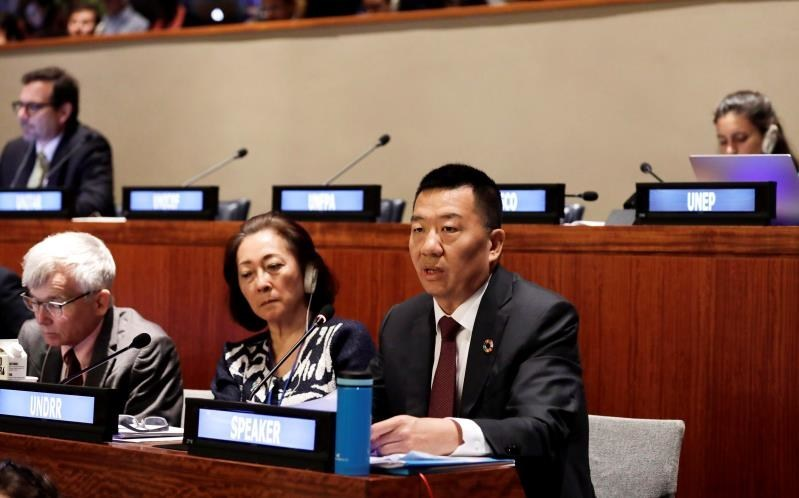 Xiamen Airlines Chairman Zhao Dong addresses High-Level Political Forum on Sustainable Development at the United Nations (photo by Xinhua Muzi Li)
