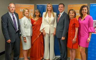L to R: Chris Jochnick, President & CEO, Landesa , Candi Wolff, EVP Global Government Affairs, Citi; Neelam Chhiber, Founder, Industree Foundation; ; Ivanka Trump, Advisor to the President, The White House; Mark Green, Administrator, U.S. Agency for International Development, Liz Schrayer President & CEO, U.S. Global Leadership Coalition (USGLC), Morgan Ortagus, Spokesperson, United States Department of State
