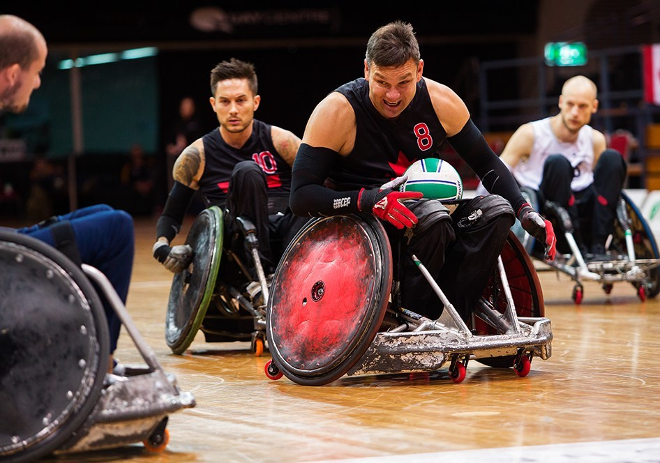 Mike Whitehead (centre) and Trevor Hirschfield (back) are among 12 athletes named to the Canadian wheelchair rugby team for the Lima 2019 Parapan Am Games. PHOTO: Wheelchair Rugby Canada (CNW Group/Canadian Paralympic Committee (Sponsorships))