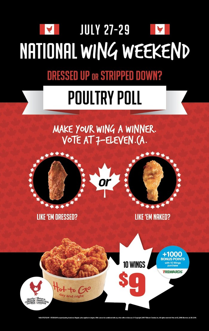 7-Eleven Canada Celebrates National Wing Day for the Whole Weekend by Giving Fans a Chance to Win a $25 Delivery Coupon for a Free Wing Delivery (CNW Group/7-Eleven Canada)