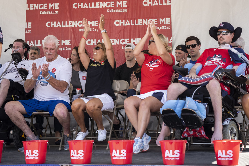 Co-Founders of the Ice Bucket Challenge, Pete Frates and Pat Quinn, along with their families celebrate the fifth anniversary of the Ice Bucket Challenge in Boston