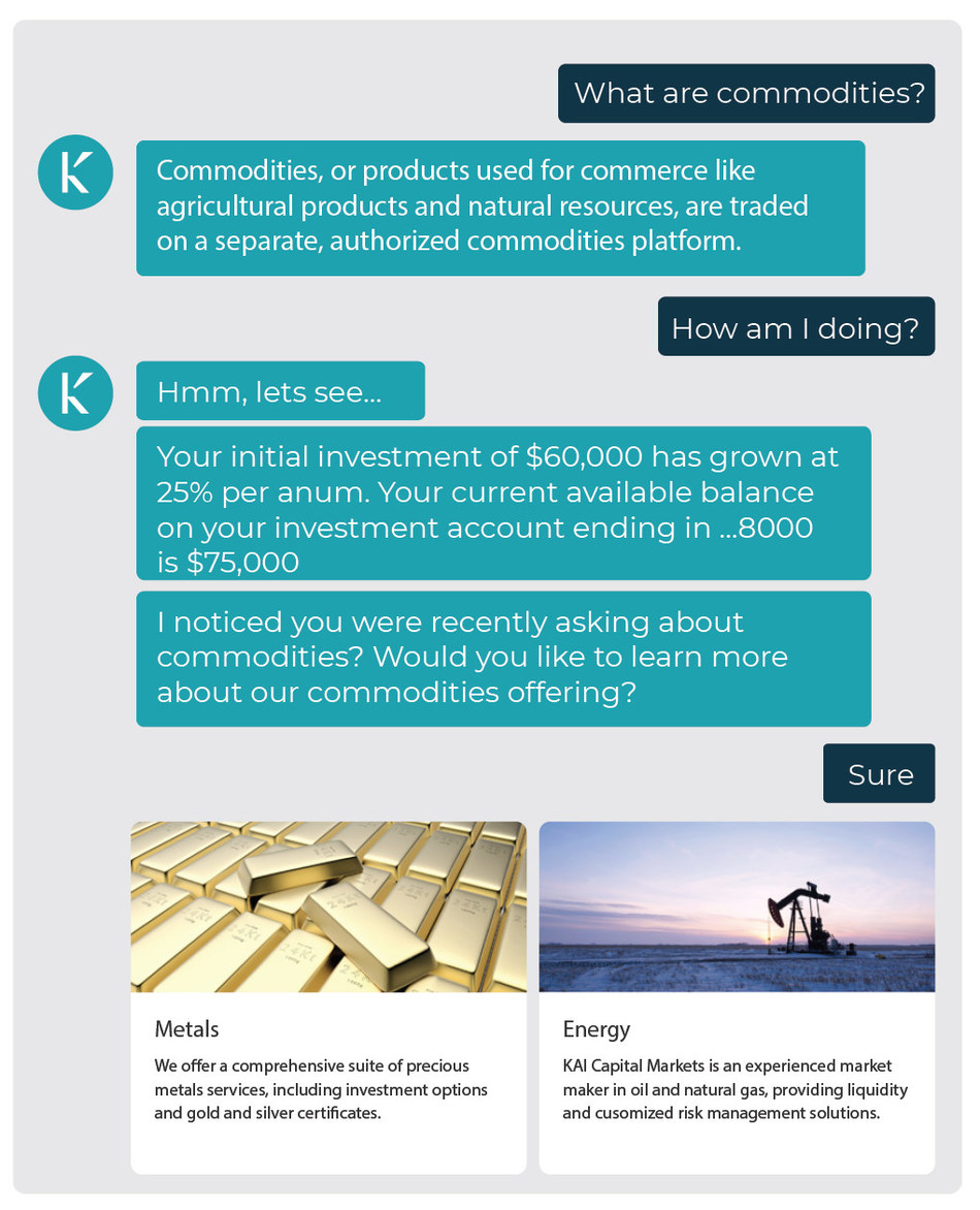 KAI Investment Management (KIM) allows wealth managers to better engage millennials and other digital natives by presenting users with information about their portfolio, educating them, and providing insights, which enables them to make better investment decisions and be more prepared when speaking to an investment advisor.