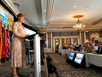 The Honourable Marie-Claude Bibeau, Minister of Agriculture and Agri-Food announces an investment of $11.4 million for the Dairy Research Cluster at the Dairy Farmers of Canada AGM in Saskatoon. (CNW Group/Agriculture and Agri-Food Canada)