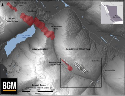 Deposit Zones, Cariboo Gold Project (CNW Group/Barkerville Gold Mines Ltd.)