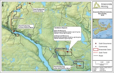 "Exhibit A. A map of South Eastern Nova Scotia showing the location of the Goldboro Project and the recently acquired Country Harbour and Lower Seal Harbour properties. The mineral resource for the Goldboro Deposit is taken from the technical report titled ""GOLDBORO PROJECT, MINERAL RESOURCE UPDATE AND PRELIMINARY ECONOMIC ASSESSMENT - GUYSBOROUGH COUNTY, NOVA SCOTIA"", with an effective date of December 10, 2018 and a Mineral Resource effective date of July 19, 2018 (CNW Group/Anaconda Mining Inc.)"
