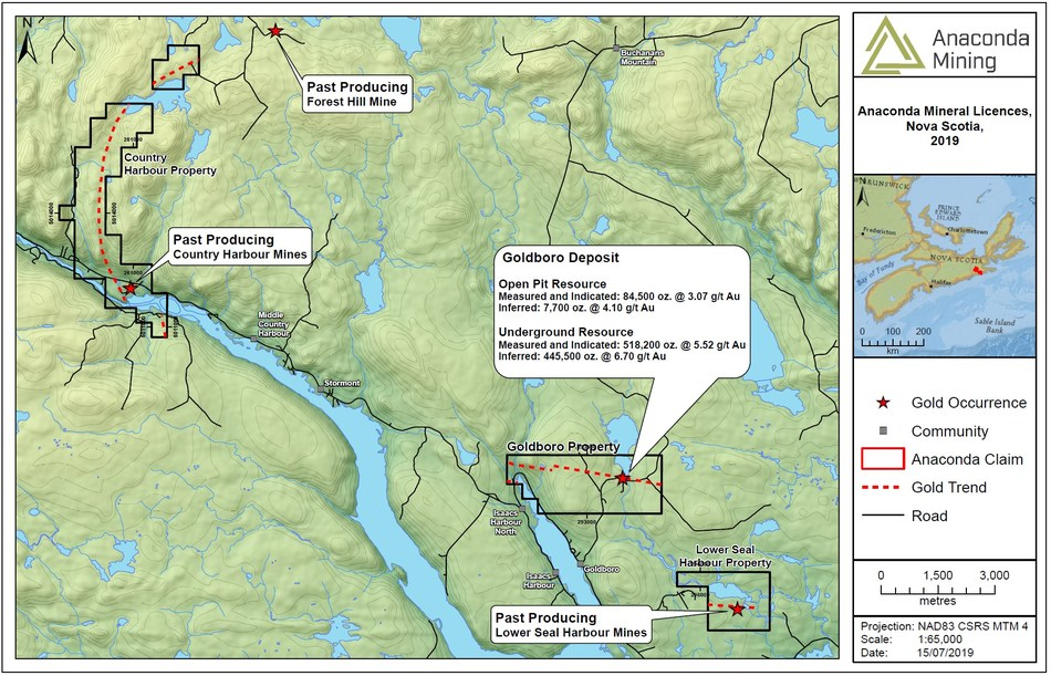 """Exhibit A. A map of South Eastern Nova Scotia showing the location of the Goldboro Project and the recently acquired Country Harbour and Lower Seal Harbour properties. The mineral resource for the Goldboro Deposit is taken from the technical report titled """"GOLDBORO PROJECT, MINERAL RESOURCE UPDATE AND PRELIMINARY ECONOMIC ASSESSMENT - GUYSBOROUGH COUNTY, NOVA SCOTIA"""", with an effective date of December 10, 2018 and a Mineral Resource effective date of July 19, 2018 (CNW Group/Anaconda Mining Inc.)"""