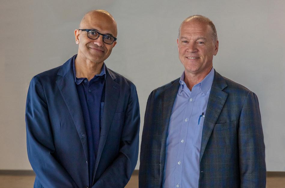 Microsoft CEO Satya Nadella with AT&T Communications CEO John Donovan