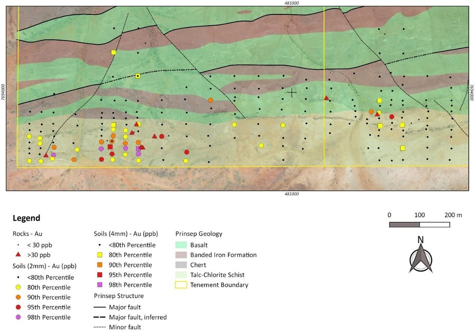 Figure 1: Prinsep South target area with rock and soil sampling. (CNW Group/NxGold Ltd.)