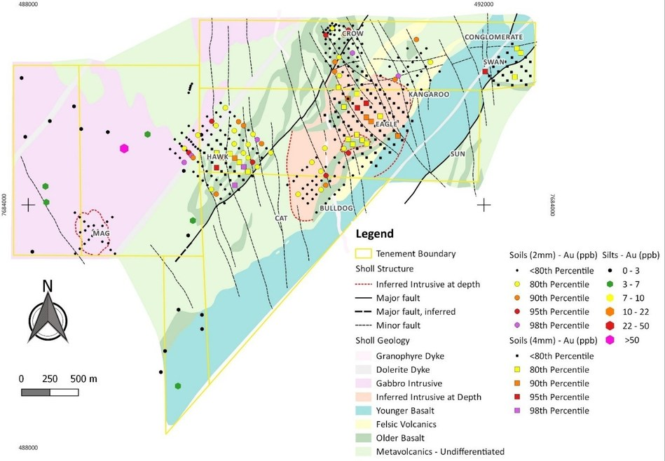Figure 2: Sholl project area with silt and soil sampling. (CNW Group/NxGold Ltd.)