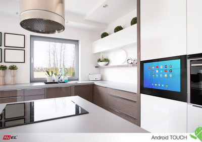 Android Touch TV from AVEL brings new level of social media or internet surfing and communication experience with it's unique integration into kitchen furniture, big capacitive touch screen and front camera. Design of the TV perfectly fits other built-in appliances, at the same time it requires no space literally since just replaces a facade section (cabinet door).