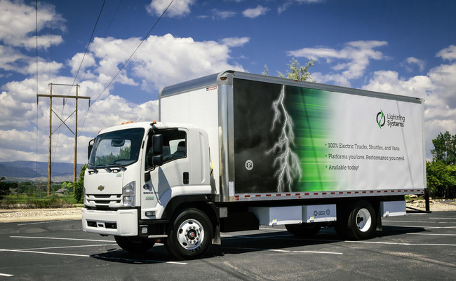 The electric Chevrolet 6500XD truck is one of the Lightning Systems vehicles included in the contract
