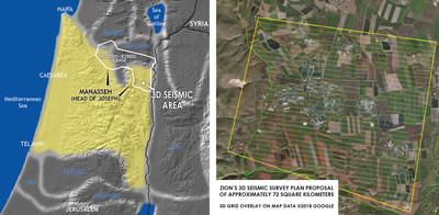 Zion's 3D seismic survey plan proposal of approximately 72 square kilometers.