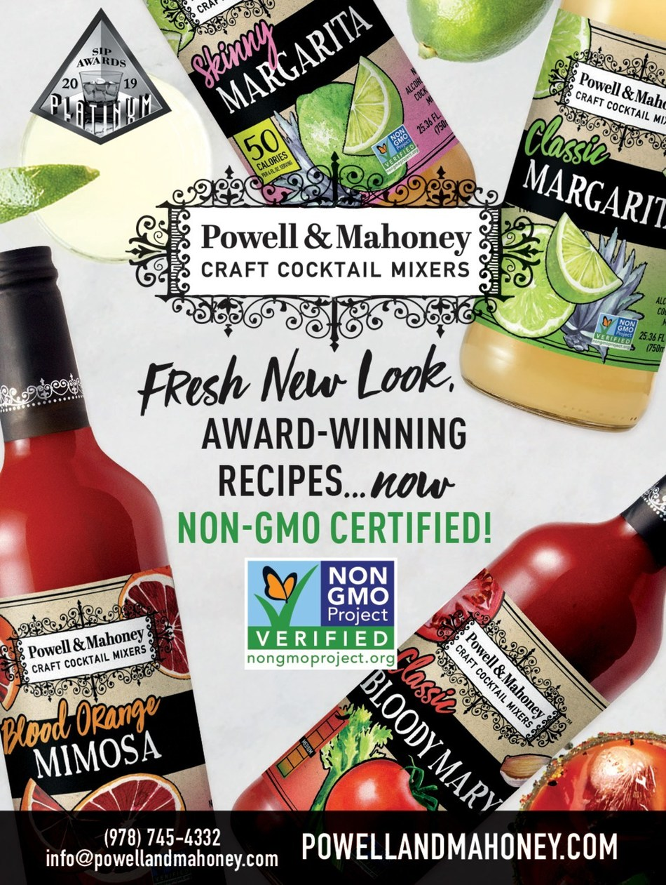 Powell & Mahoney Craft Cocktail Mixers announce new packaging, Non-GMO certification, and 2019 SIP Awards!