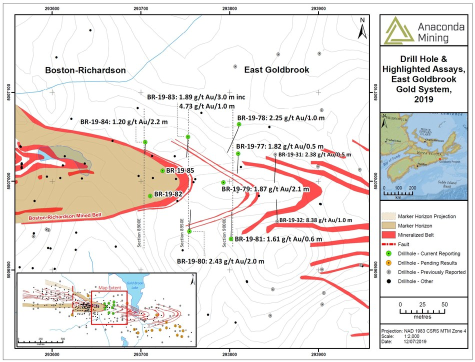 Exhibit A. A map showing the location of drill holes from the Drill Program designed to test shallow portions of the EG Gold System where mineralization was not previously modelled and adjacent to a potential open pit currently under evaluation as part of a feasibility study. The inset map shows the location of the Drill Program in relation to the rest of the Goldboro Deposit. (CNW Group/Anaconda Mining Inc.)