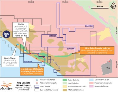Figure 1. NWN (King Leopold Nickel Project) licence holding and regional geology (CNW Group/Chalice Gold Mines Limited)