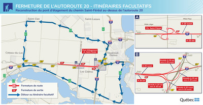 Fermetures de l'autoroute 20 à Les Cèdres - Détours et itinéraires facultatifs (Groupe CNW/Ministère des Transports)