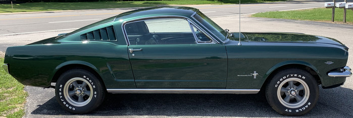 1965 Ford Mustang Fastback 2+2 V8 'Bullitt Clone' in Dark Highland Green, underwent fastidious 3-year restoration in late 1990s. All cars will be auctioned with no reserve. Est. $30,000-$40,000