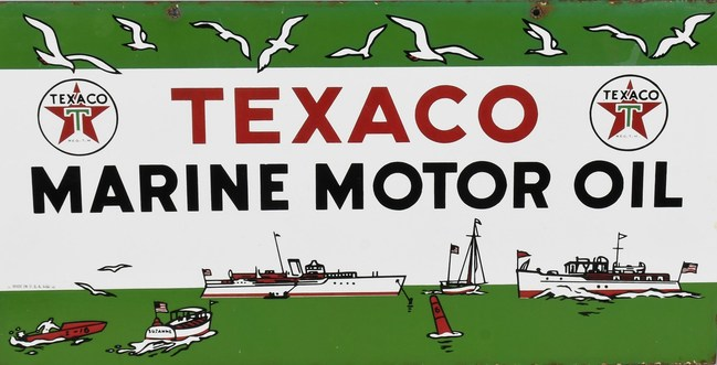 Texaco Marine Motor Oil double-sided porcelain sign, stamped 'MADE IN USA 4-50,' 21½ x 11in. Est. $8,000-$10,000