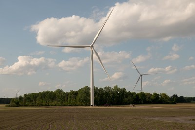 Turbines at DTE's newest wind park, Pine River, which was commissioned earlier this year. The park is located in mid-Michigan's Gratiot and Isabella counties.