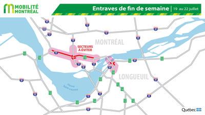 Carte générale des entraves, fin de semaine du 19 juillet (Groupe CNW/Ministère des Transports)