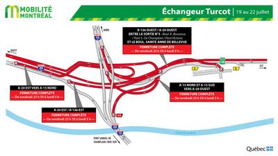 Fermeture dans l'échangeur Turcot, fin de semaine du 19 juillet (Groupe CNW/Ministère des Transports)