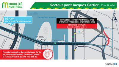 Fermetures bretelles pont Jacques-Cartier, fin de semaine du 19 juillet (Groupe CNW/Ministère des Transports)