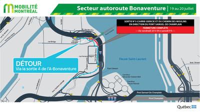 Fermeture sortie 3 Bonaventure EST, vendredi 19 juillet (Groupe CNW/Ministère des Transports)