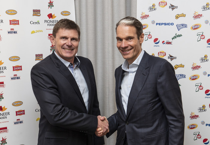 Tertius Carstens, CEO of Pioneer Foods,and Eugene Willemsen, CEO, PepsiCo Sub-Saharan Africa