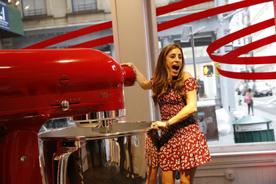 KitchenAid pays homage to its iconic stand mixer as a highly desired gift through a lifesize stand mixer installation in New York City, Thursday, July 18, 2019. (Clarence Sormin)
