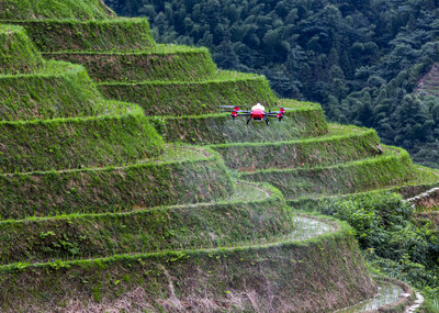XAG Plant Protection Drone Spraying for Small Farmland in Terrain Field in China