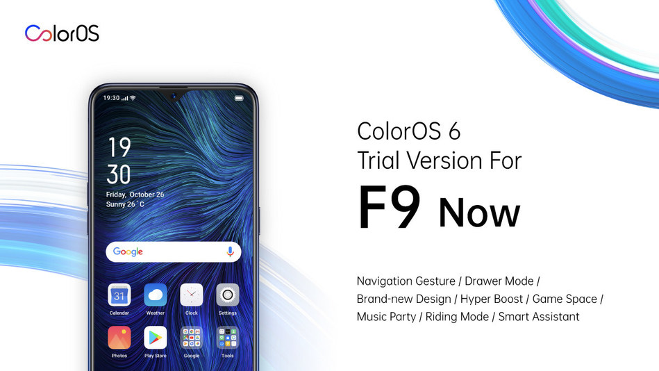 OPPO is starting the ColorOS 6 trial version testing for F9