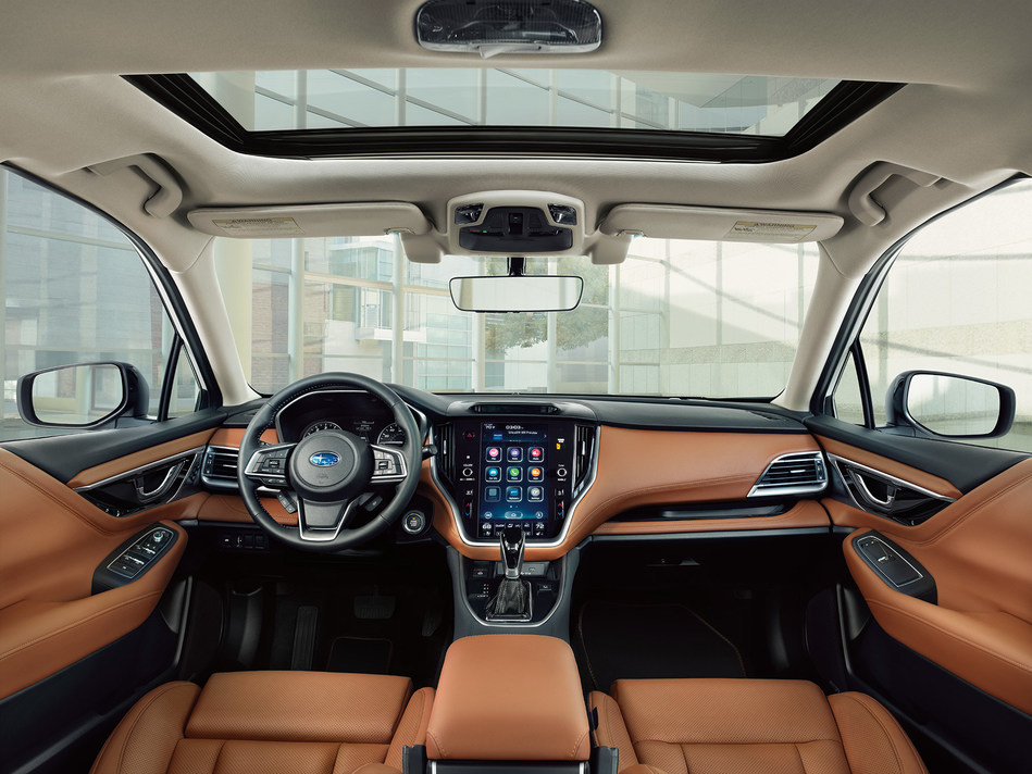 The seventh-generation Legacy offers an available vertically-mounted 11.6-inch tablet-style touchscreen that incorporates vehicle, HVAC and multimedia controls. (CNW Group/Subaru Canada Inc.)
