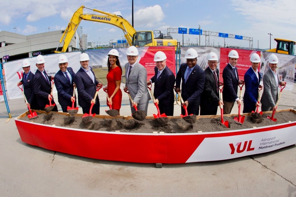 Groundbreaking ceremony to officially launch construction of the future Réseau express métropolitain (REM) station at YUL Montréal-Trudeau International Airport. (CNW Group/Aéroports de Montréal)