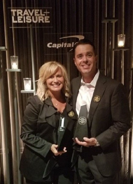 Yvette Burke and Matt Schwab at the Travel + Leisure World's Best Awards event on July 16 in New York.