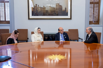 His Excellency Zaki Nusseibeh, United Arab Emirates Minister of State and Head of the Ministry of Foreign Affairs Office of Public and Cultural Diplomacy (2nd from right) meets with Distinguished Scholar and Ambassador-at-Large Dr. Richard Kurin (right) in Smithsonian's historic Regents' Room.