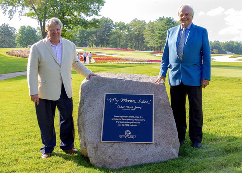 On the eve of hosting the 71st U.S. Girls' Junior Championship, the most prominent junior golf tournament in the country, Sentry Insurance CEO Pete McPartland (pictured left) paused Friday, July 19, to honor golf course architect Robert Trent Jones Jr. (right) for his masterful design of SentryWorld in Stevens Point, Wisconsin.