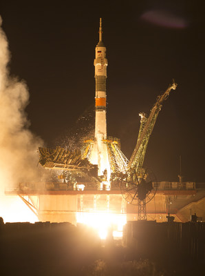 The Soyuz MS-13 carrying Expedition 60 Soyuz Commander Alexander Skvortsov of Roscosmos, flight engineer Drew Morgan of NASA, and flight engineer Luca Parmitano of ESA (European Space Agency), launches at 12:28 p.m. EDT (9:28 p.m. Baikonur time) Saturday, July 20, 2019, from the Baikonur Cosmodrome in Kazakhstan. Credits: NASA/Joel Kowsky
