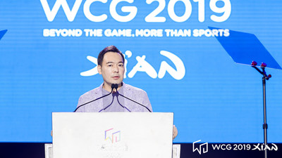 Discurso de Jung Jun Lee, CEO do WCG CEO, na cerimônia de encerramento do WCG 2019 Xi?na. (PRNewsfoto/World Cyber Games)