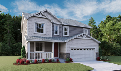 The popular two-story Hemingway plan is modeled at Villas at Inspiration in Aurora.