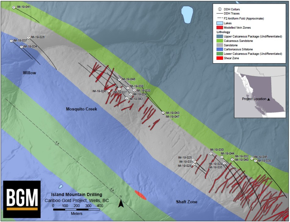 Island Mountain Drilling: Cariboo Gold Project. (CNW Group/Barkerville Gold Mines Ltd.)