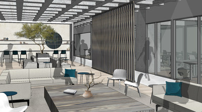 CommonGrounds Workplace proposed rendering of the communal area and adjacent private offices at 1700 Market in downtown Philadelphia