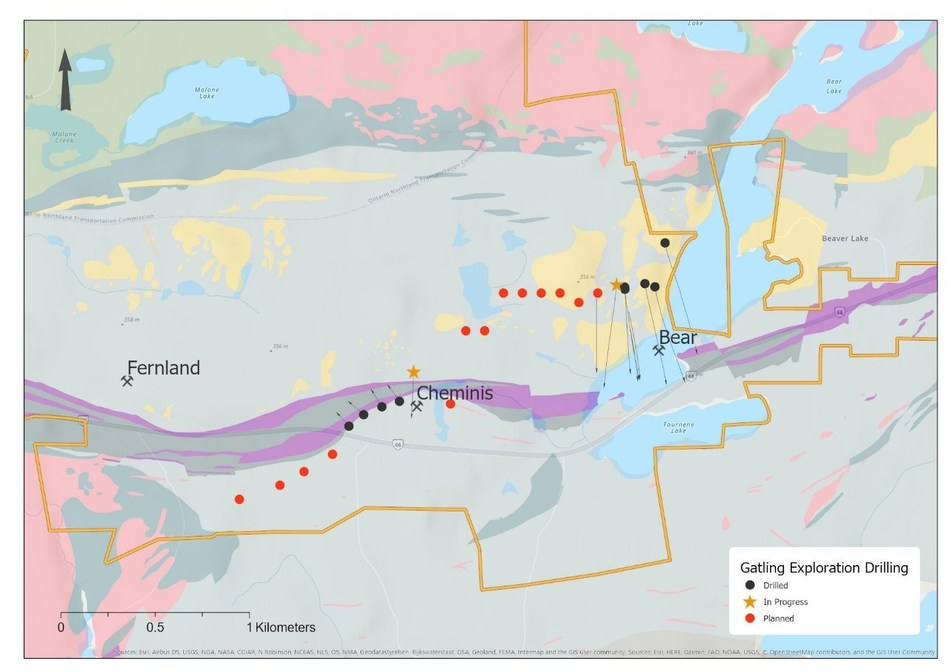 Figure 3. Larder Gold Project surface drilling status map showing local geology. (CNW Group/Gatling Exploration Inc.)
