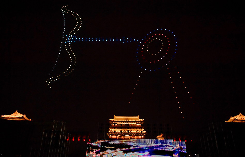 Drone show during the launching ceremony of Yungang culture and tourism series activities held in Datong city of north China's Shanxi province on July 15.