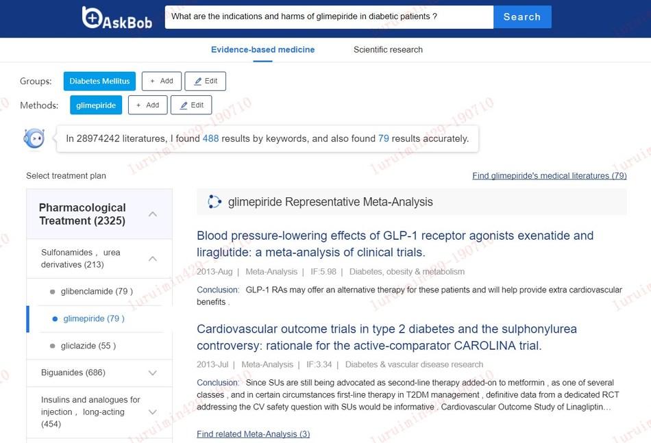 Interface of AskBob, AI-based medical decision advisor