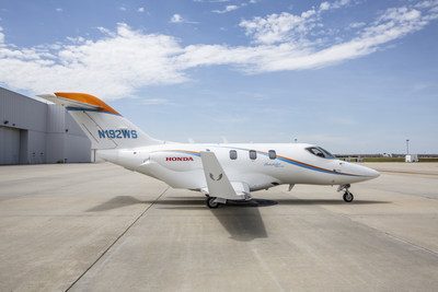 One of Wing Spirit's HondaJet Elites at Honda Aircraft Company's headquarters in Greensboro, NC before departing to Hawaii.