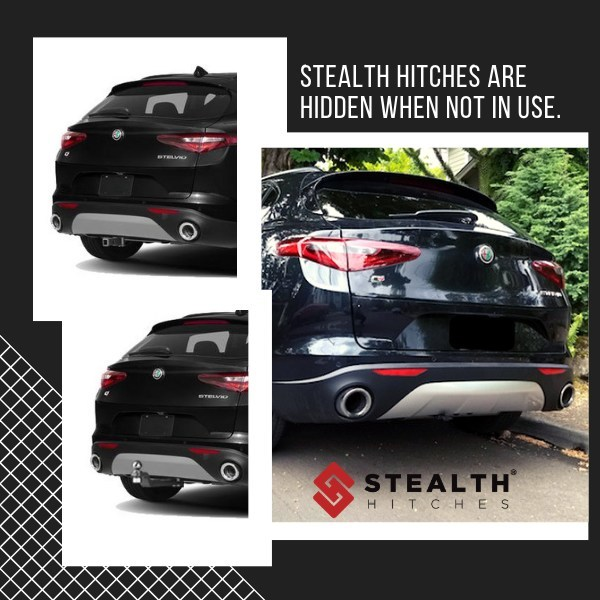 Stealth Hitches Alfa Romeo Stelvio Quadrifoglio hitch installed on vehicle. Well-designed, secure and easy to operate, Stealth's Alfa Romeo Stelvio Quadrifoglio hidden hitch is equipped with an integral locking system and auto-latching technology that - eliminates the need for tools, - attaches and detaches in seconds, - provides a rust-free application, and - is completely hidden when not in use.