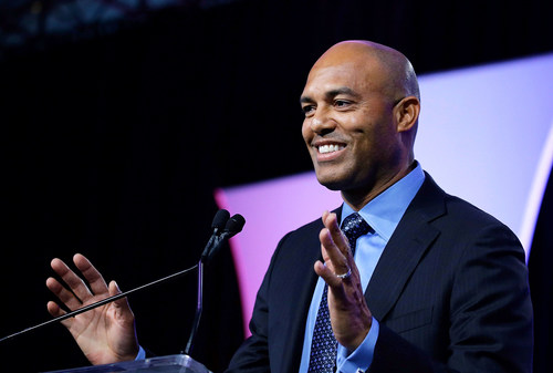 Mariano Rivera, Yankees legend and WSB's newest exclusive speaker, was recently inducted into the Baseball Hall of Fame. Photo by John Lamparski/WireImage via Getty Images.